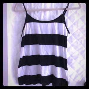 Black and white block stripped camisole